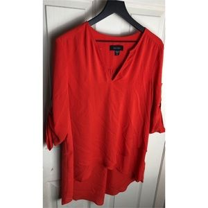 Karen Kane xl orange 3/4 sleeve high low blouse